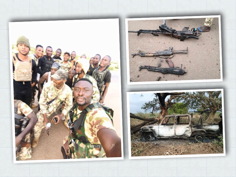The triumphant Nigerian troops after destroying Boko Haram terrorists and some weapons seized