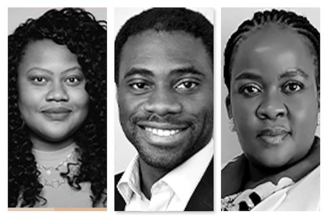 the new Mo Ibrahim Fellows- L-R Fatou Wurie, Adu-Gyamfi and Gaokgakala Sobatha