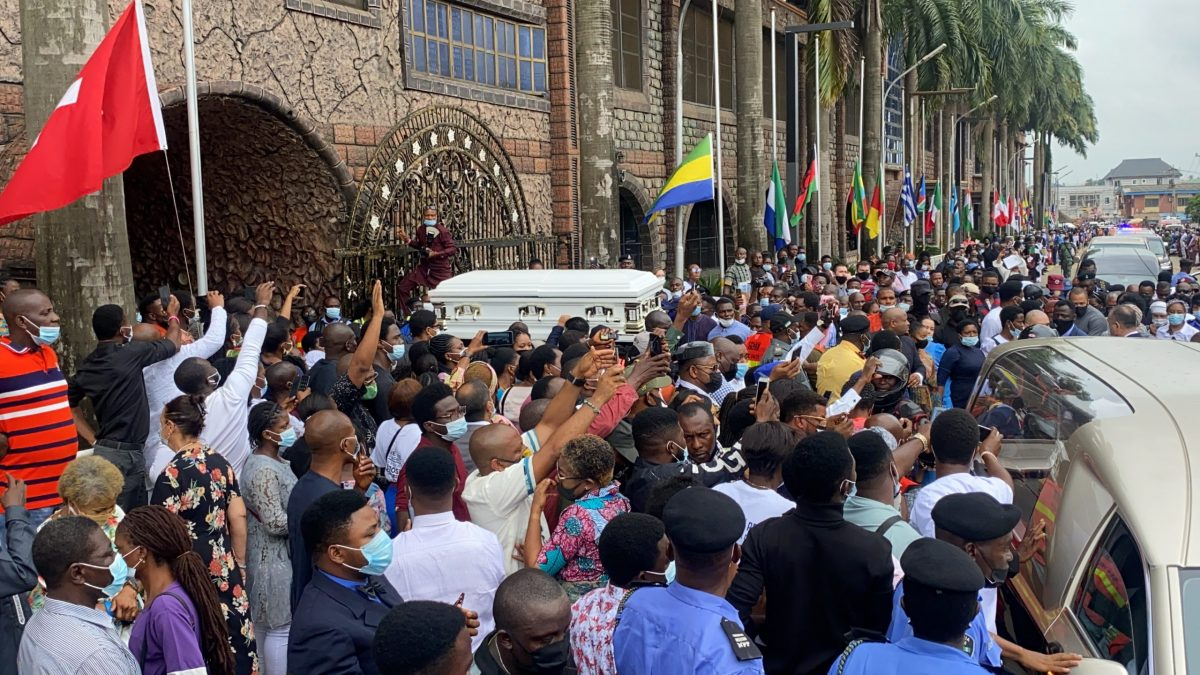 the crowd at the Synagogue as TB Joshua's casket is taken from the hearse