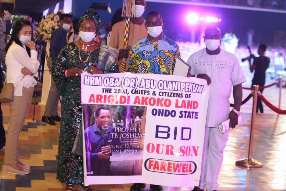 Royal guests from Arigidi Akoko paying last respect at Lying-in-state service of late TB Joshua. Photo by Ayodele Efunla