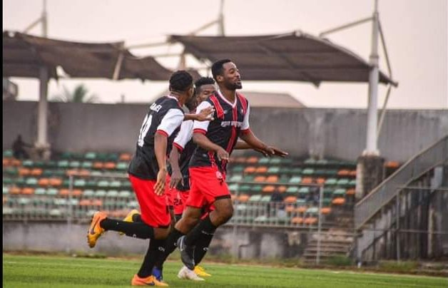 Abia Warriors players celebrate after a goal in AITEO FA Cup