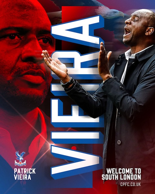 Crystal Palace welcome Vieira