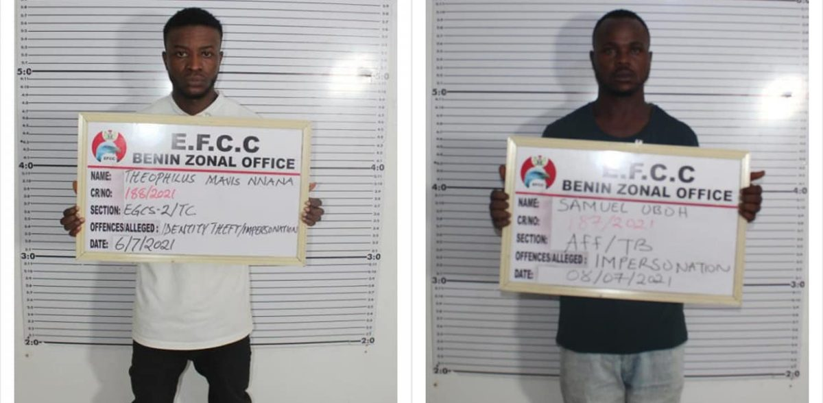 Two internet fraudsters Nnana, Oboh sent to jail in Edo