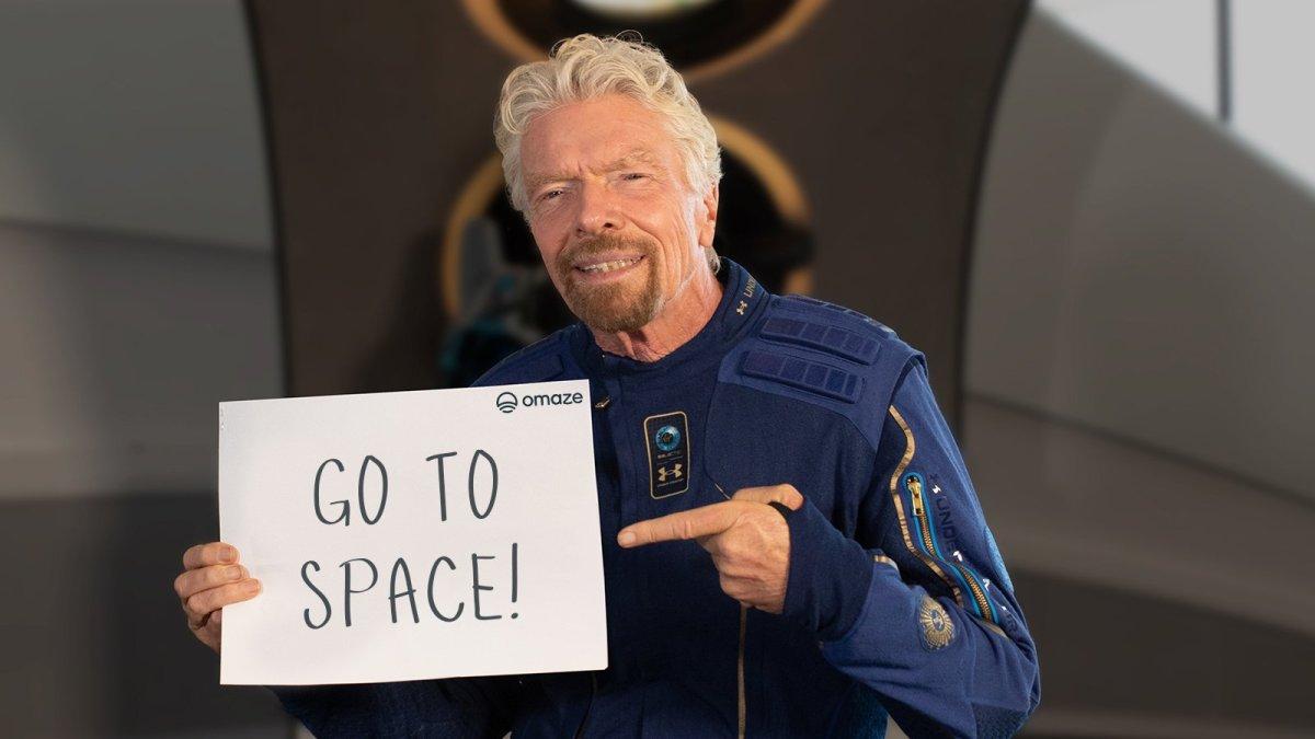 Astronaut Richard Branson promoting the sweepstake on Sunday