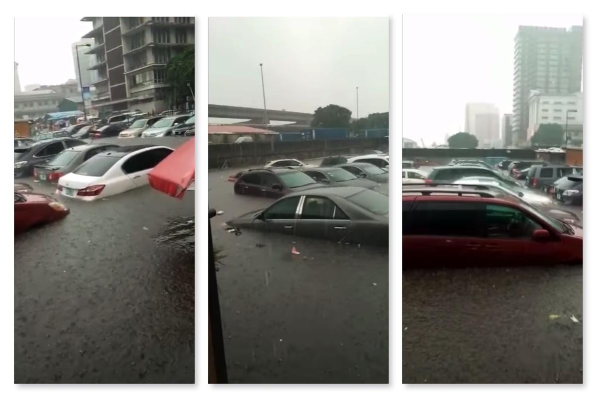 Flooded cars at Marina parks on Lagos Island after heavy rain