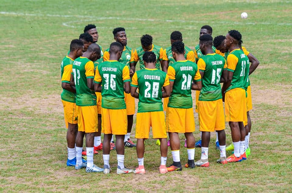 Gateway United FC players plotting Wikki Tourists fall in AITEO FA Cup on Wednesday
