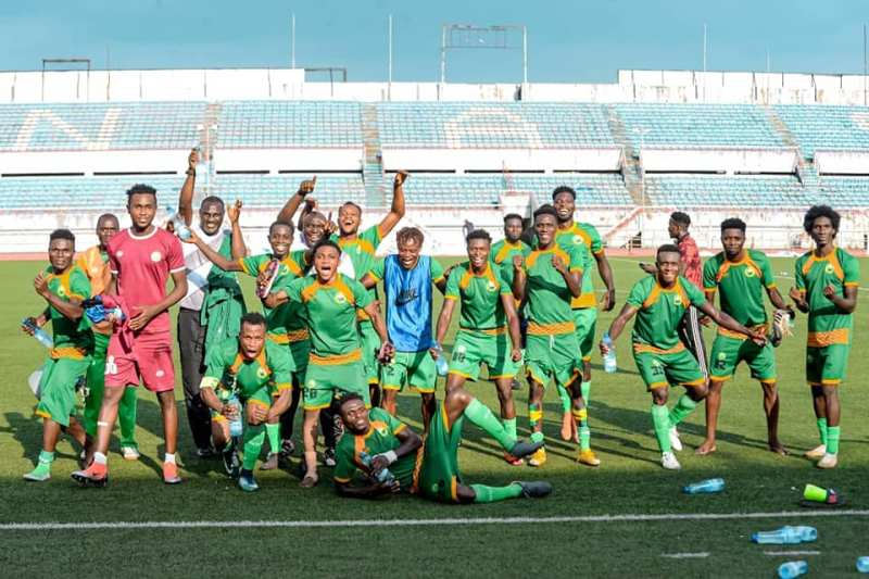 Gateway Utd FC players rejoice after beating Wikki Tourists in AITEO FA Cup Round of 16