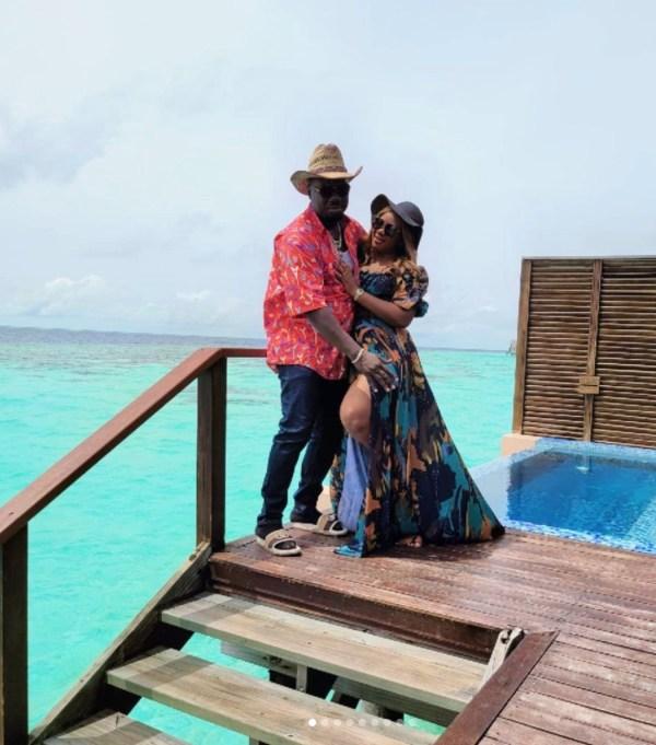 Obi Cubana and his wife in Maldives