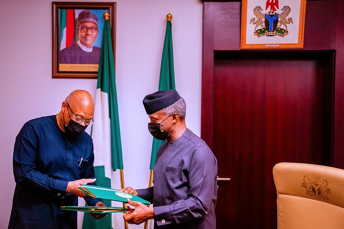 Vice President Yemi Osinbajo, SAN, and ECOWAS President, Jean Claude Brou, sign the Early Warning Memorandum of Understanding at the State House, Abuja. 13th July, 2021. Photos: Tolani Alli