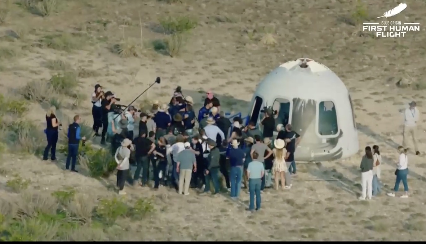 jeff Bezos Blue Origin Spacecraft on arrival back to Earth