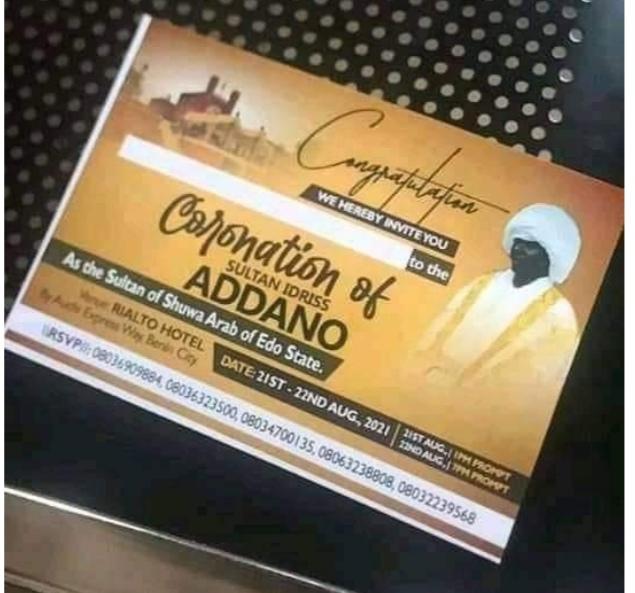The new invitation to instal second Sultan of Shuwa Arabs in Edo triggers furore