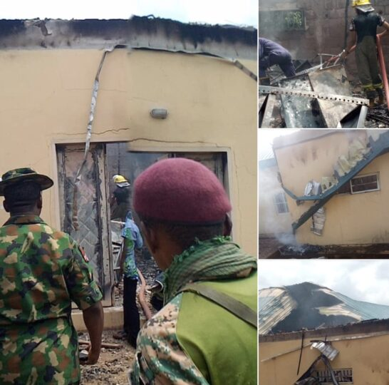 INEC office in Awgu LGA burnt: combo images of assets destroyed