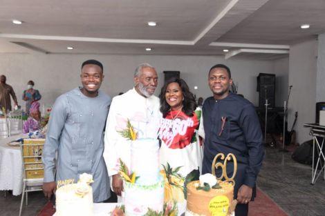The celebrant with her husband Olu Jacobs, and sons, Soji and Gbenga