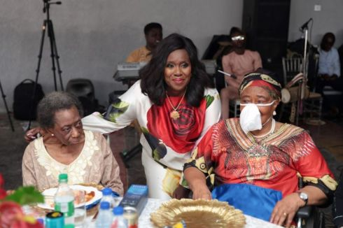 Mrs Remi Bucknor and Mrs Iyabo Forsyithe with the celebrant