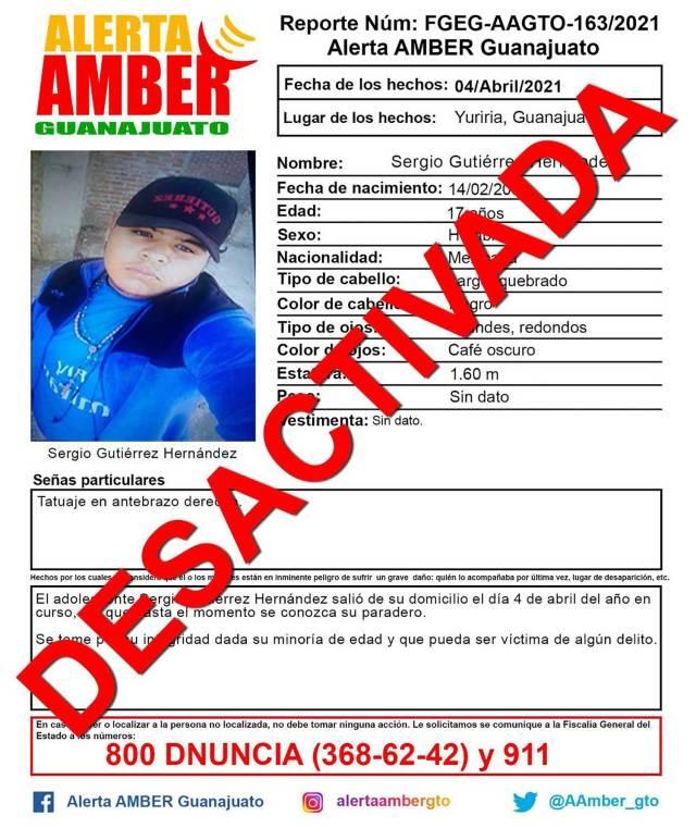 La Alerta Amber fue desactivada tras el hallazgo del cuerpo del adolescente.