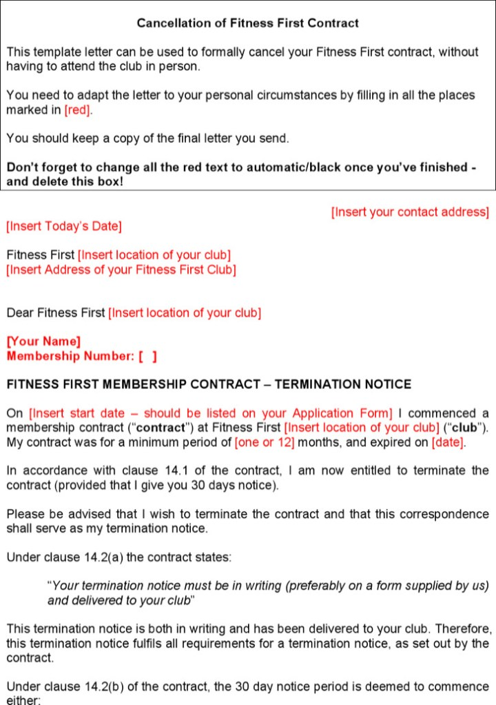 Gym Contract Template Printable Blank Contracts Gym Contract - Membership agreement template free