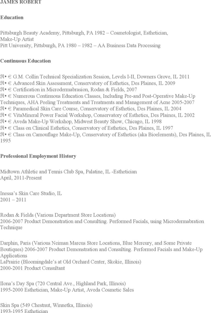 Esthetician Resume Cover Letters  Esthetician Resume