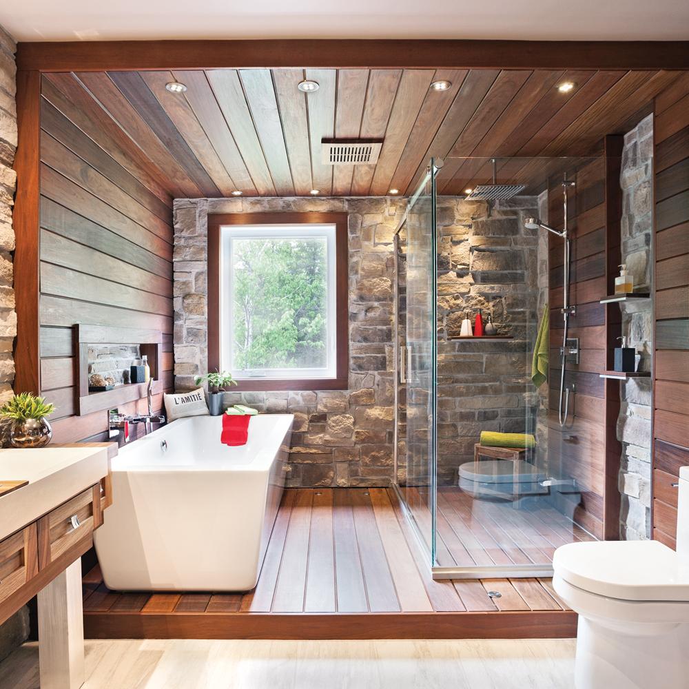 salle de bain rustique tout de pierre