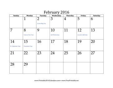 Printable February 2016 Calendar
