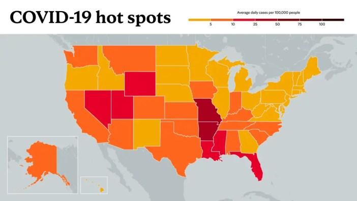 15. Juli 2021 – COVID-19-Trendkarte der Mayo Clinic mit roten Farbtönen für Hotspots