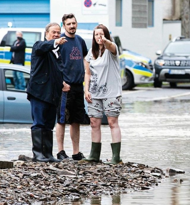 Armin Laschet, the governor of North-Rhine Westphalia and chancellor candidate of the center-right Christian Democratic Union party visited the site of floods in Altena, Germany, on Thursday.
