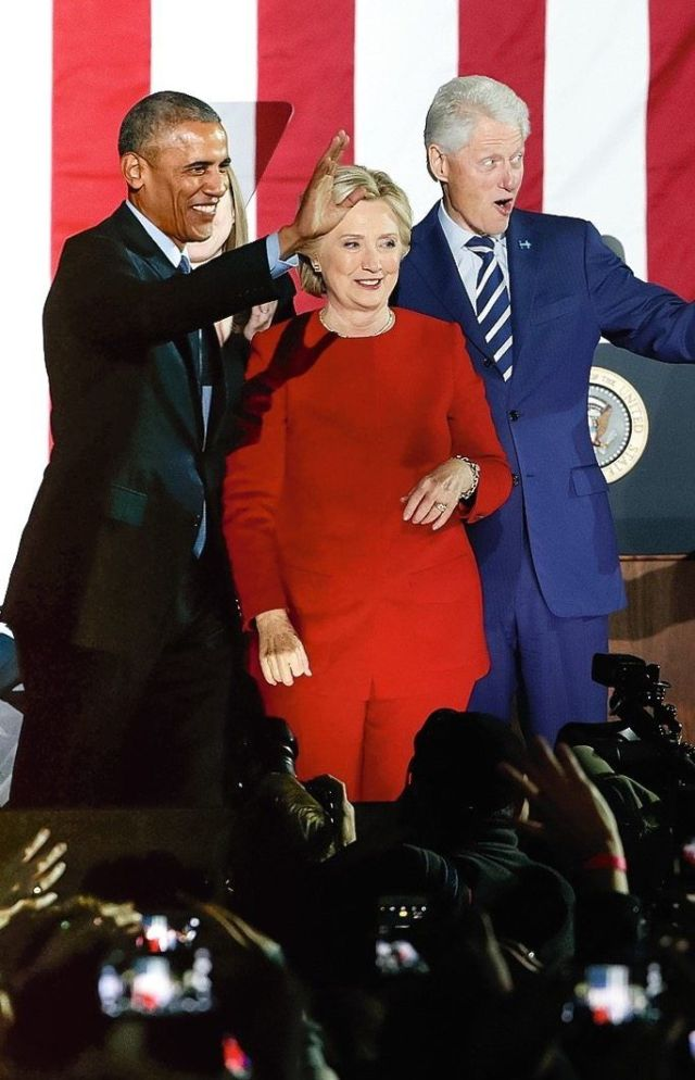 """Democrats Barack Obama and Hillary and Bill Clinton in 2016: """"It showed an arrogance toward the less educated."""""""