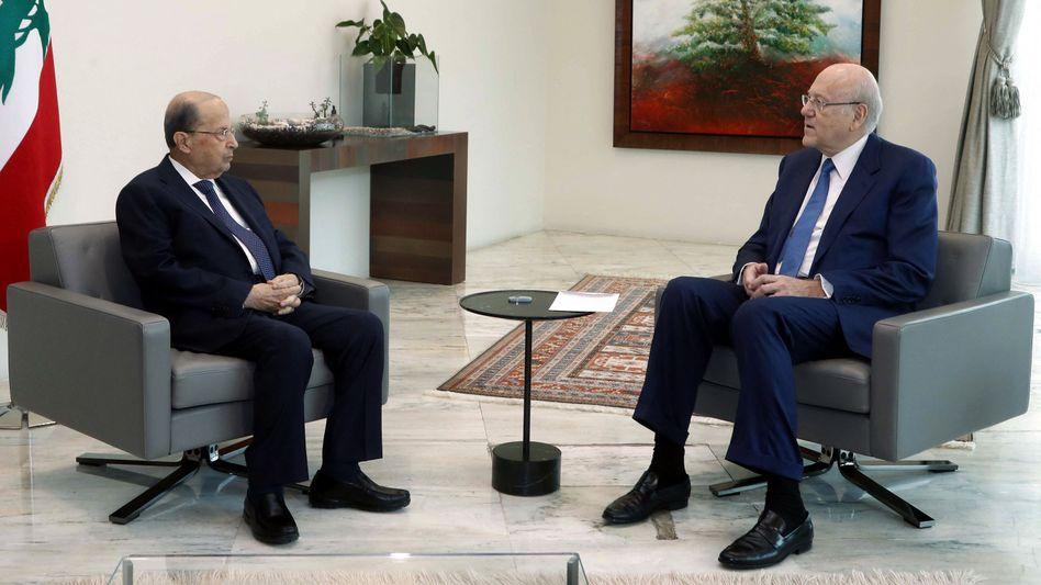Präsident Aoun, designierter Regierungschef Mikati: Der Libanon steht vor gewaltigen Problemen