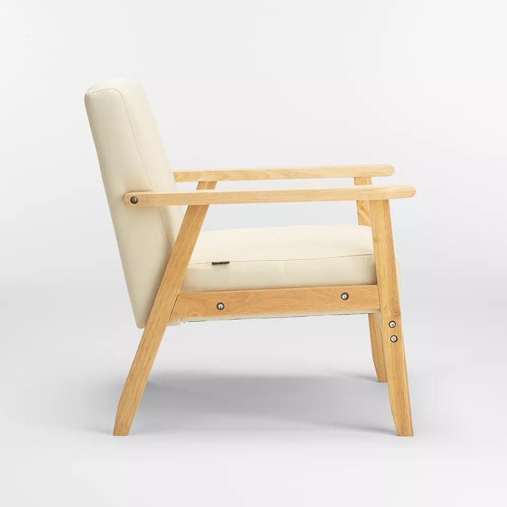 uteplass fauteuil chaise scandinave design vintage en bois et accoudoirs
