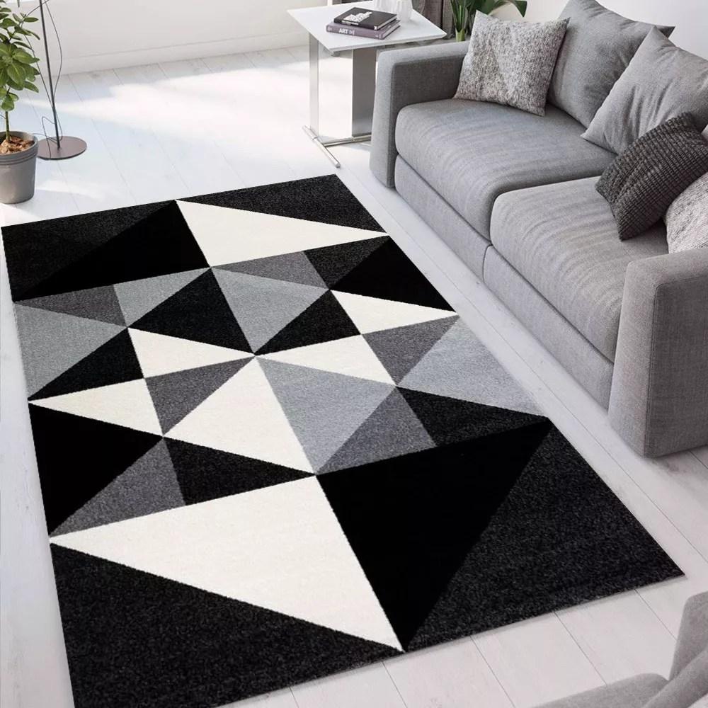 tapis noir gris rectangulaire design geometrique moderne milano gri013