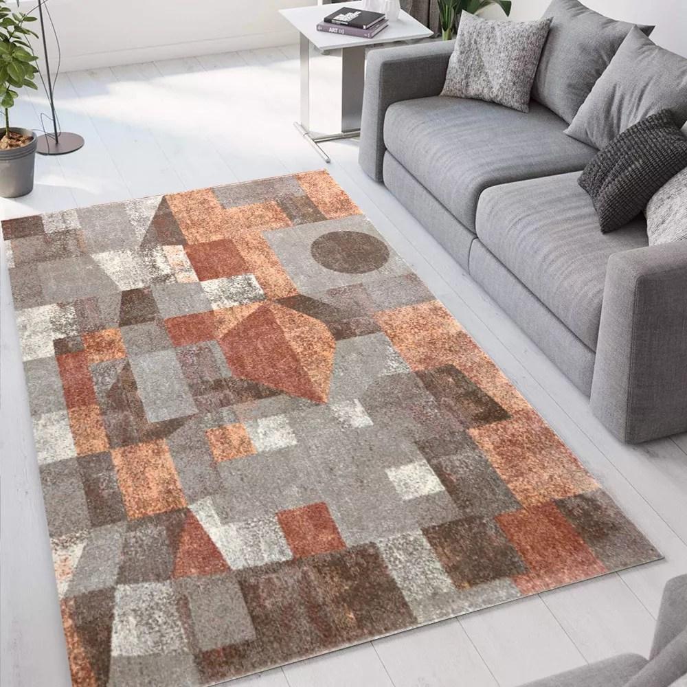 tapis de salon moderne design geometrique rectangulaire marron gris milano glo004