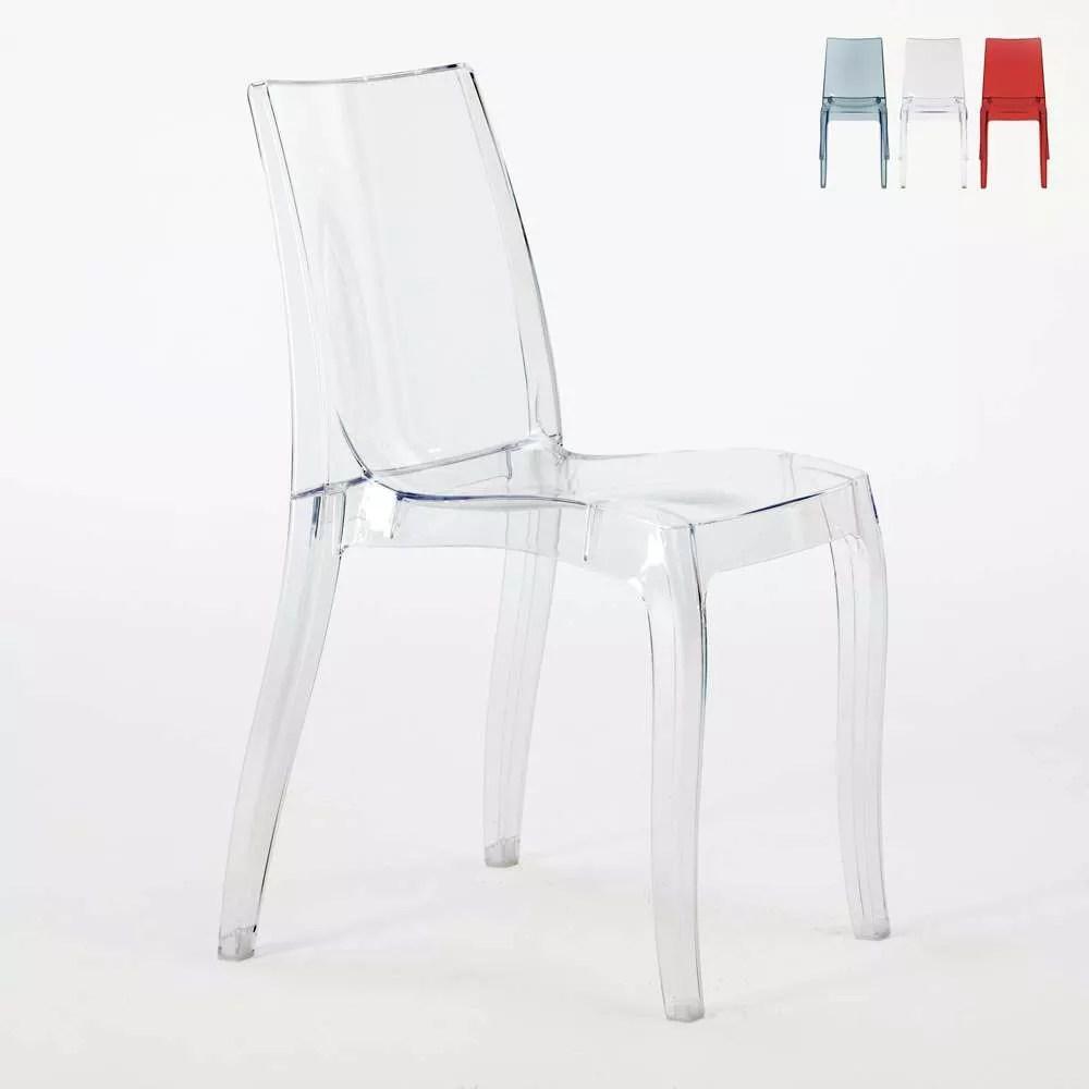 chaise empilable en polycarbonate transparent pour salle a manger bar cristal light grand soleil
