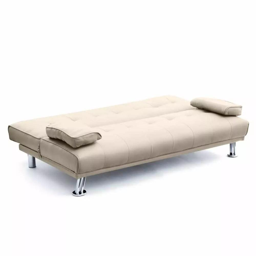 Canape Convertible En Similicuir 2 Places Accoudoirs Pour Salon Olivina