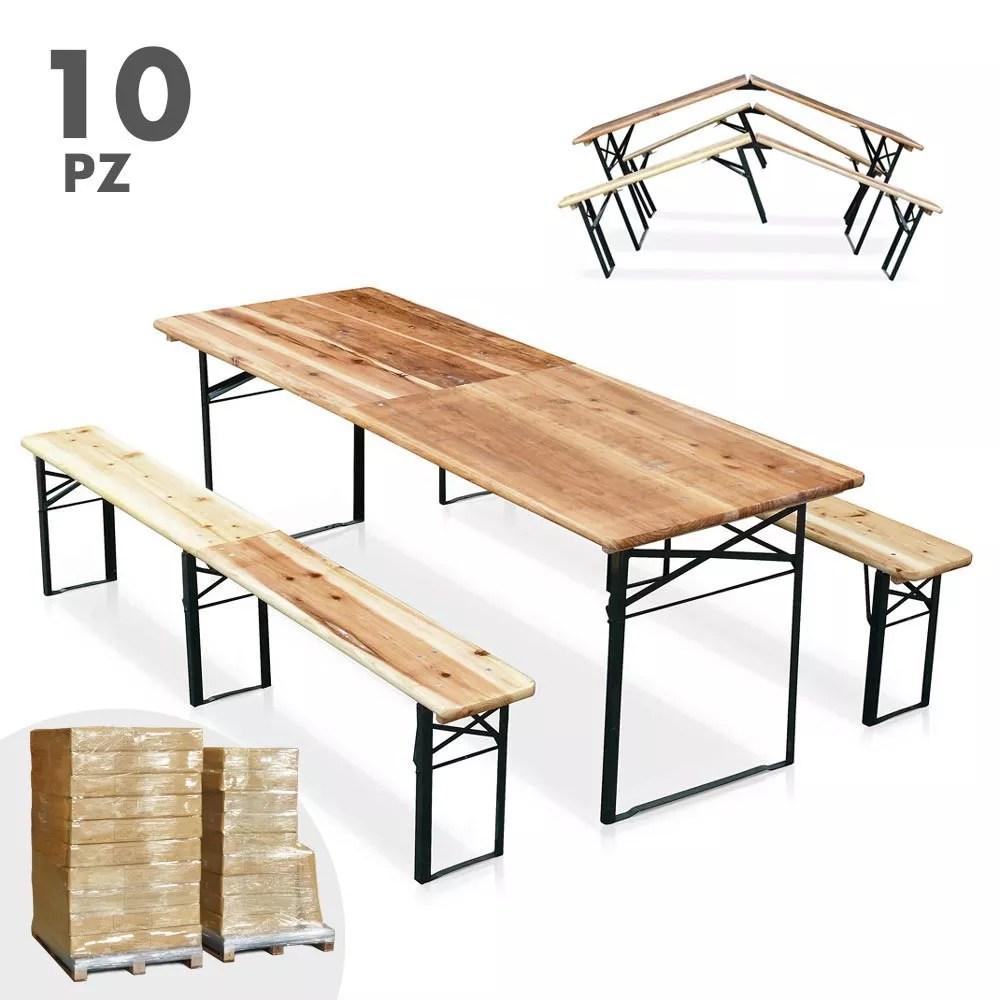 10 tables de brasserie pliantes et bancs en bois 220x80 cm