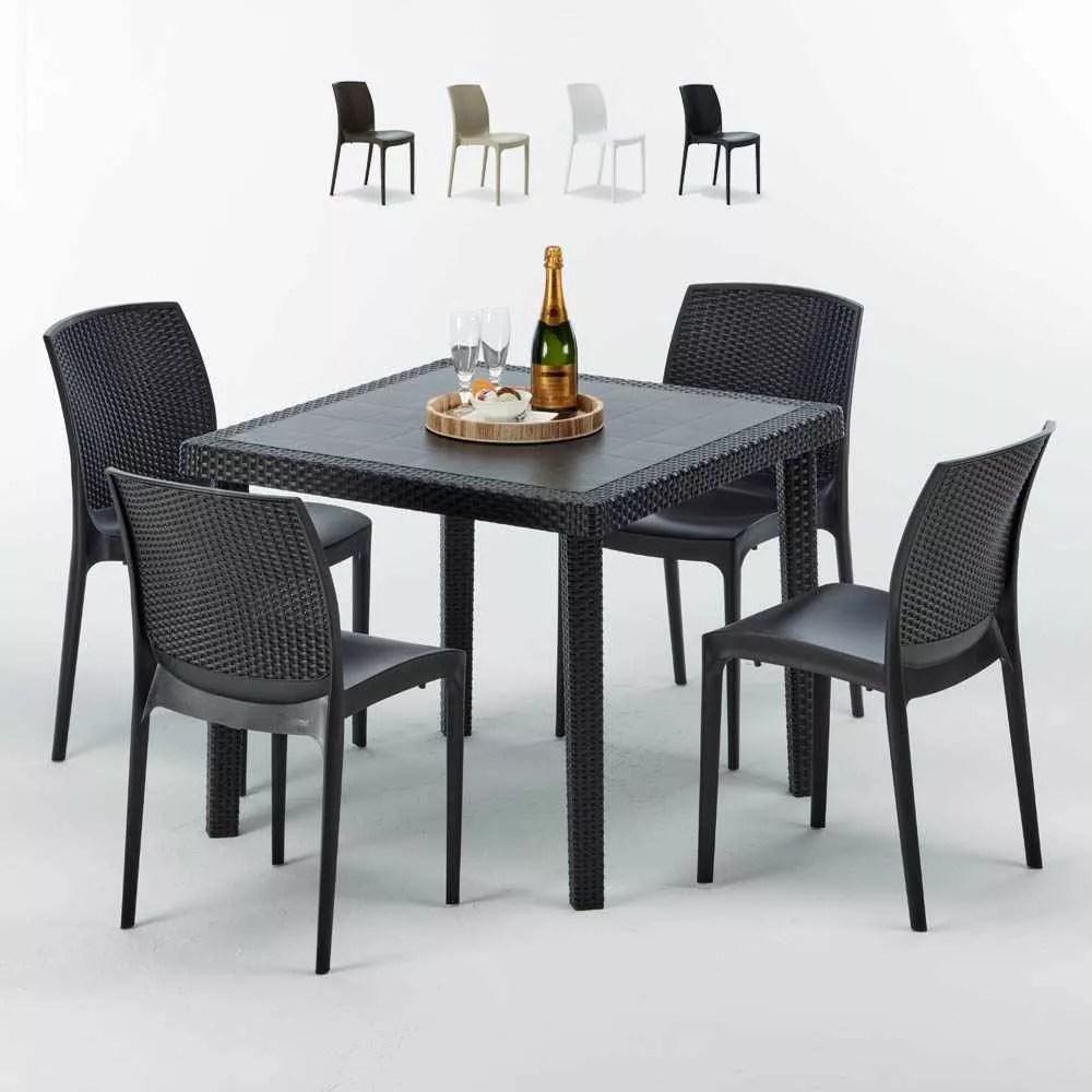 table carree noire 90x90cm avec 4 chaises colorees grand soleil set exterieur bar cafe boheme passion