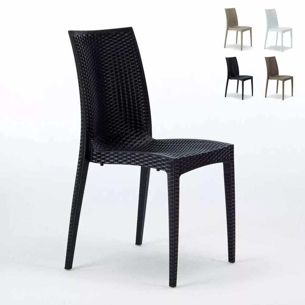 chaises jardin poly rotin empilable bar bistrot lot de 22 unites