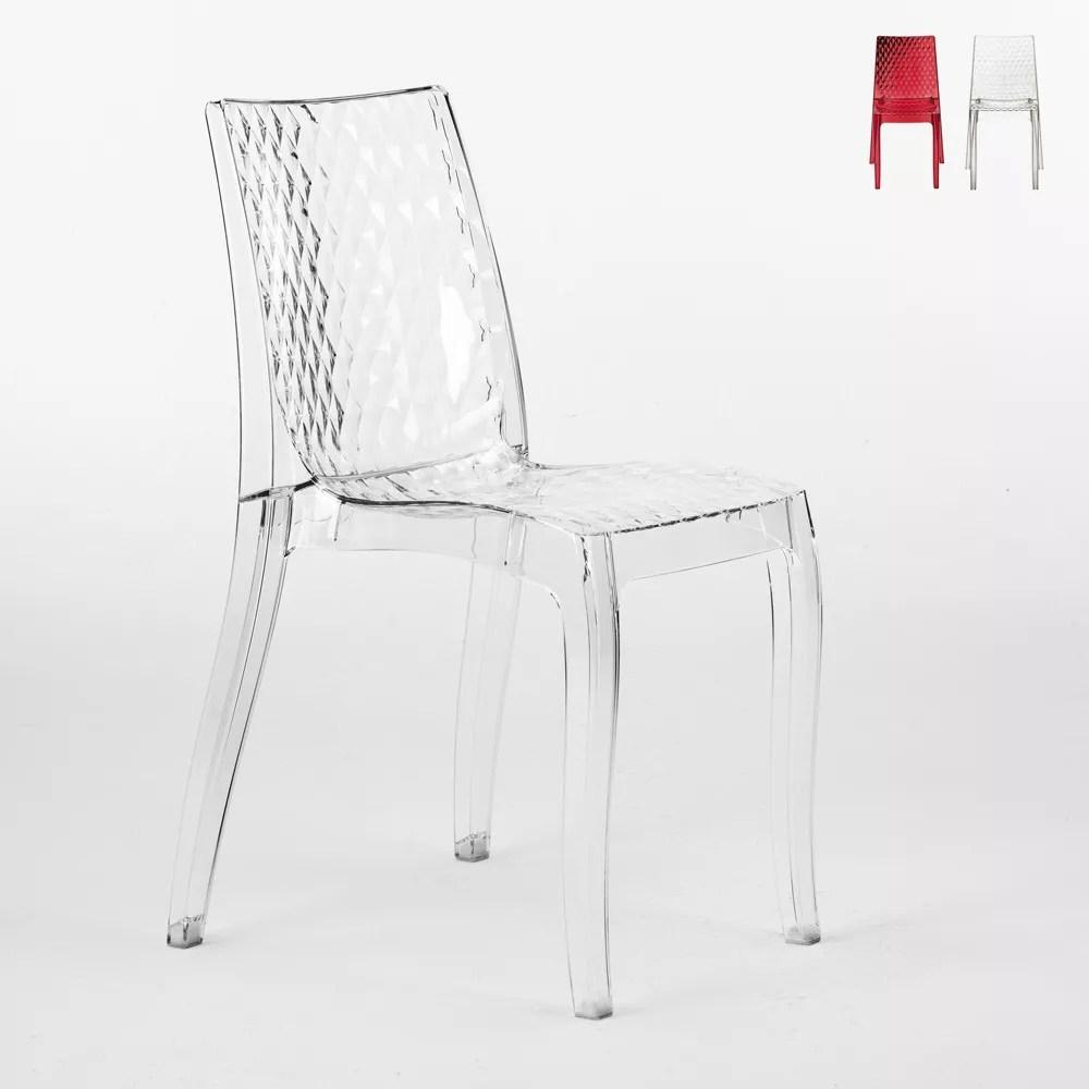 chaise transparente en polycarbonate et empilable hypnotic grand soleil