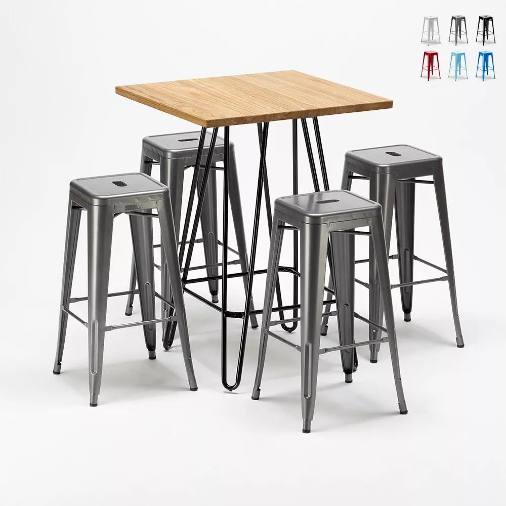 brooklyn ensemble de table haute et 4 tabourets en metal style tolix