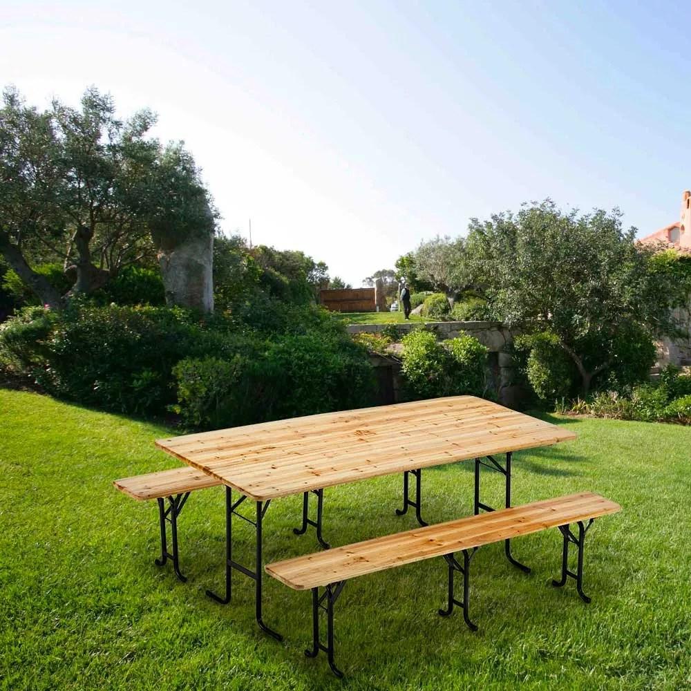 table de brasserie bancs en bois 3 jambes pliant festival jardin 220x80