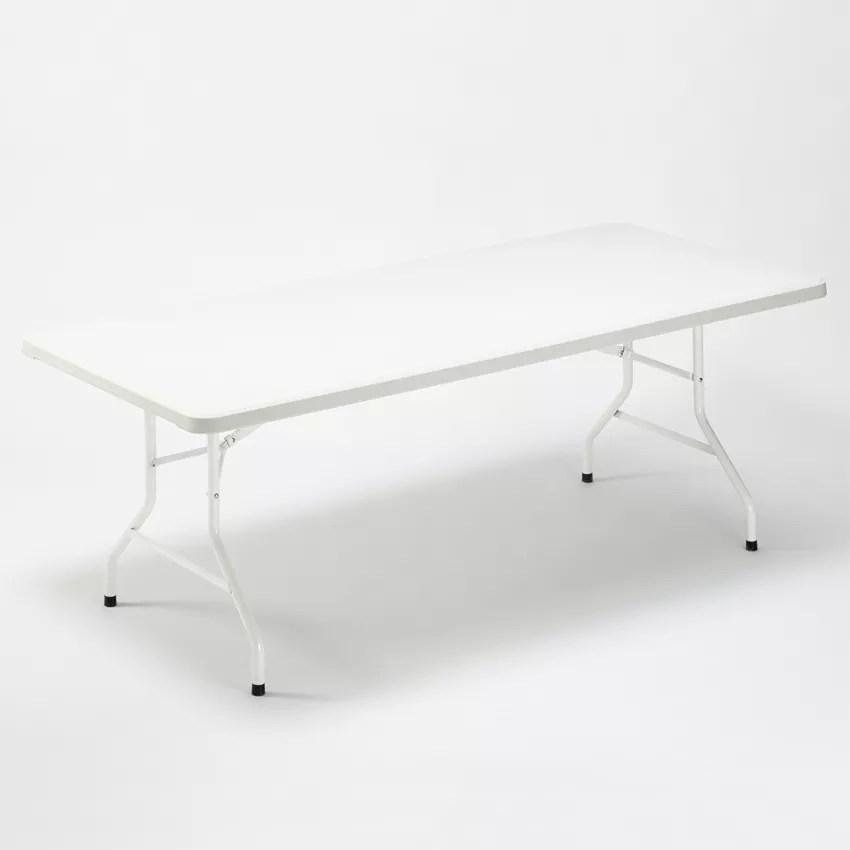 dolomites table pliante en plastique 200x90 cm pour jardin et camping