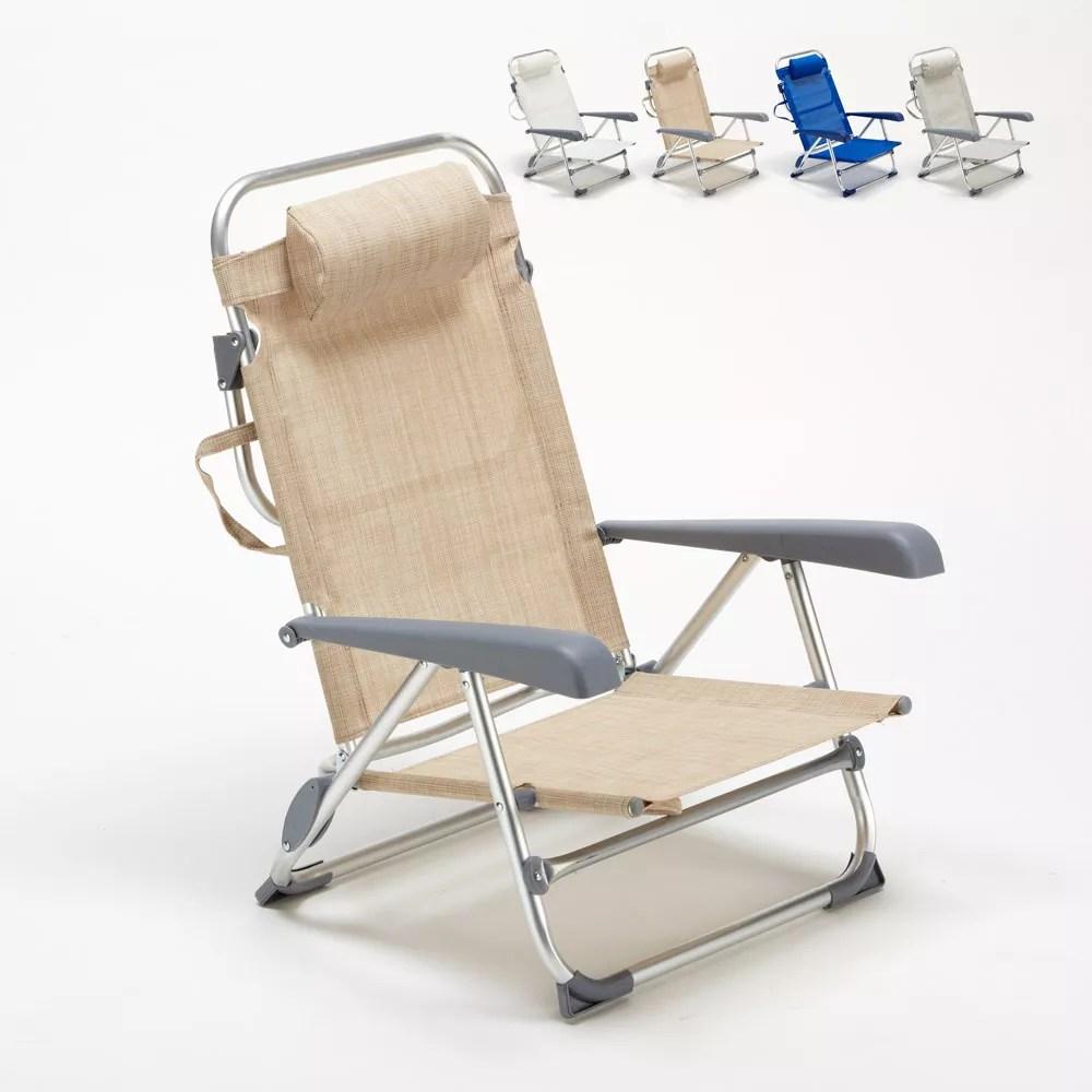 chaise transat de plage pliante avec accoudoirs mer aluminium gargano