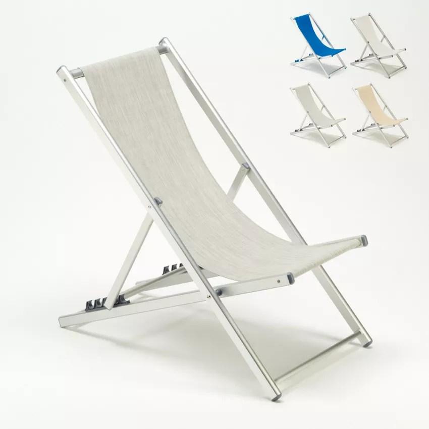 transat et chaise de plage pliante de piscine jardin aluminium riccione