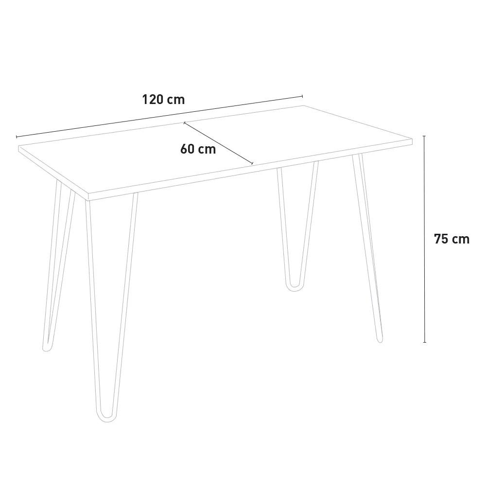set de table rectangulaire 120 x 60 avec 4 chaises en acier de style industriel tolix et bois roger