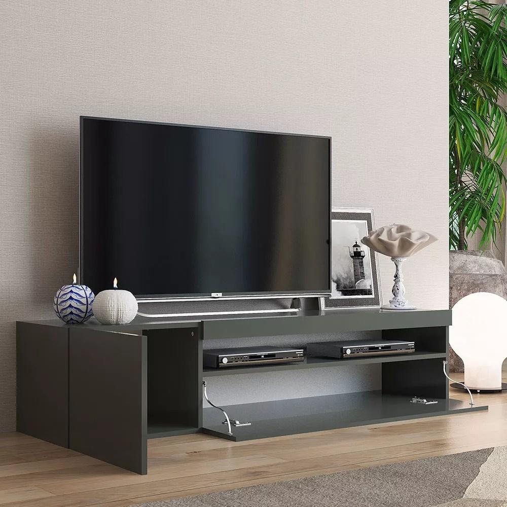 meuble bas meuble tv moderne avec porte et tiroir a rabat 150cm daiquiri anthracite m