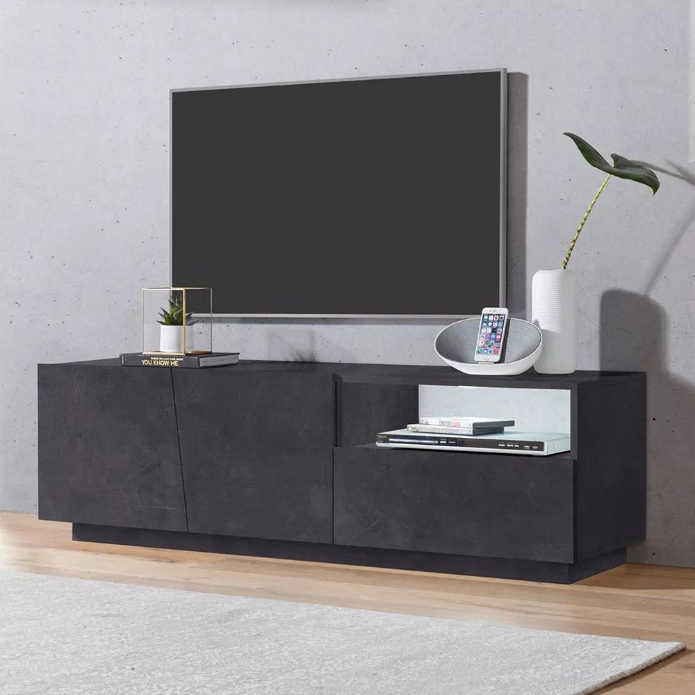 meuble tv moderne avec portes coulissantes a tiroirs 150cm vega low ardesia