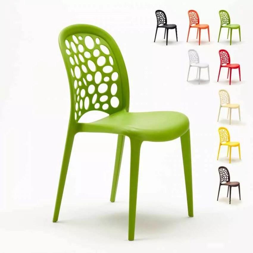 chaise polypropylene empilable salon restaurant wedding holes messina