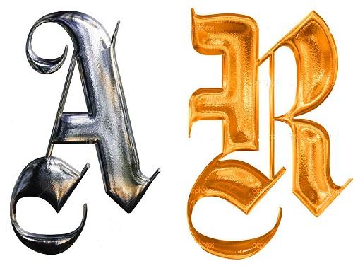 N Alphabet German Gothic Font