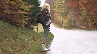 Young hitchhiker gets fucked in the wood Preview Image