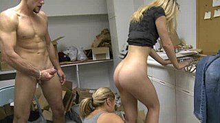 Young blonde honey gets it in the shop Preview Image
