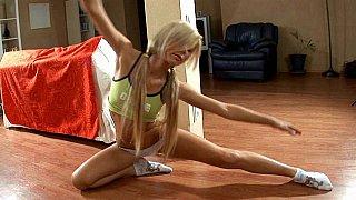 Flexible blonde teen Ariel doing aerobics Preview Image
