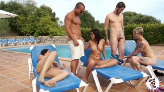Latinas Poolside Orgy Preview Image